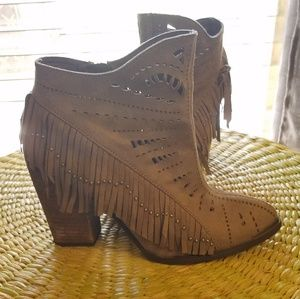 Not Rated Shoes - Not Rated 8.5 bootie gray with fringe heeled
